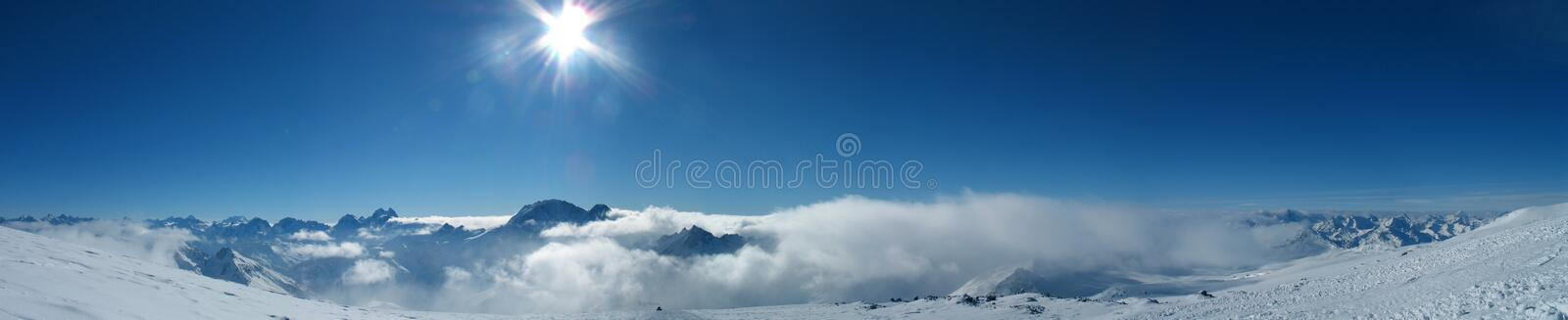 Panoramic view of the mountains royalty free stock photography
