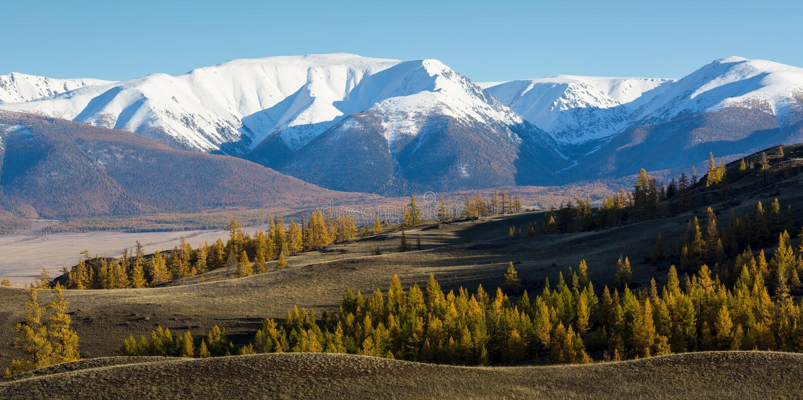 Panoramic view of the mountains of Altai-Chuya ridge, West Siberia royalty free stock photography