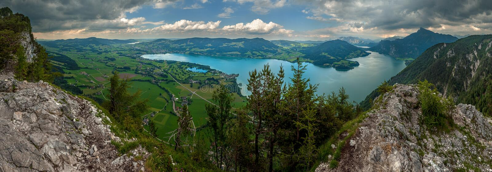 Panoramic view of Mountains in Austria stock photography