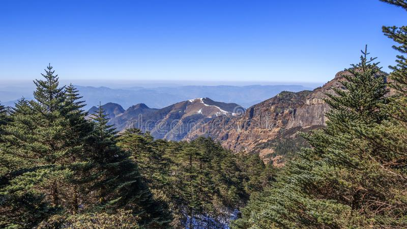 Panoramic view in the mountains royalty free stock image