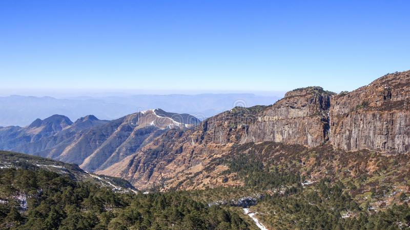 Panoramic view in the mountains stock photo