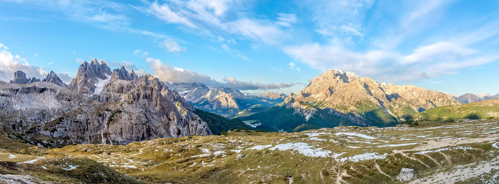Panoramic view at the mountains from south side Tre Cime di Lavaredo in Dolomites stock image