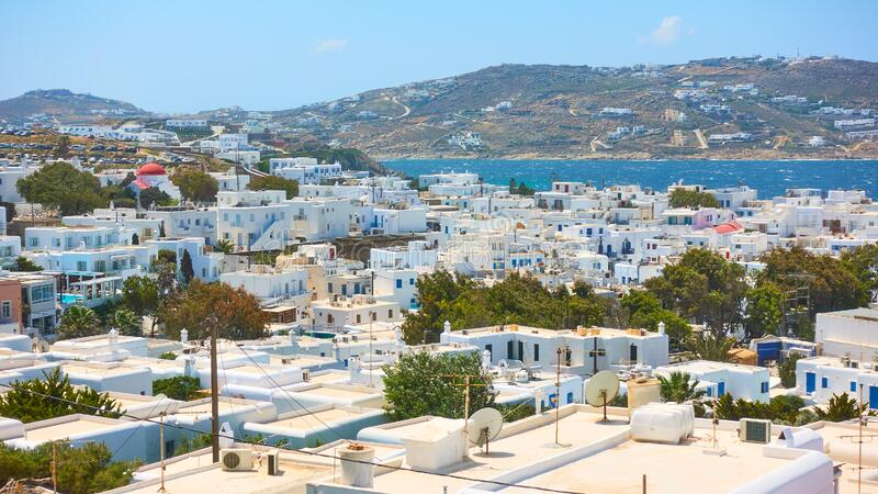 Panoramic view of Mykonos Chora town royalty free stock photography