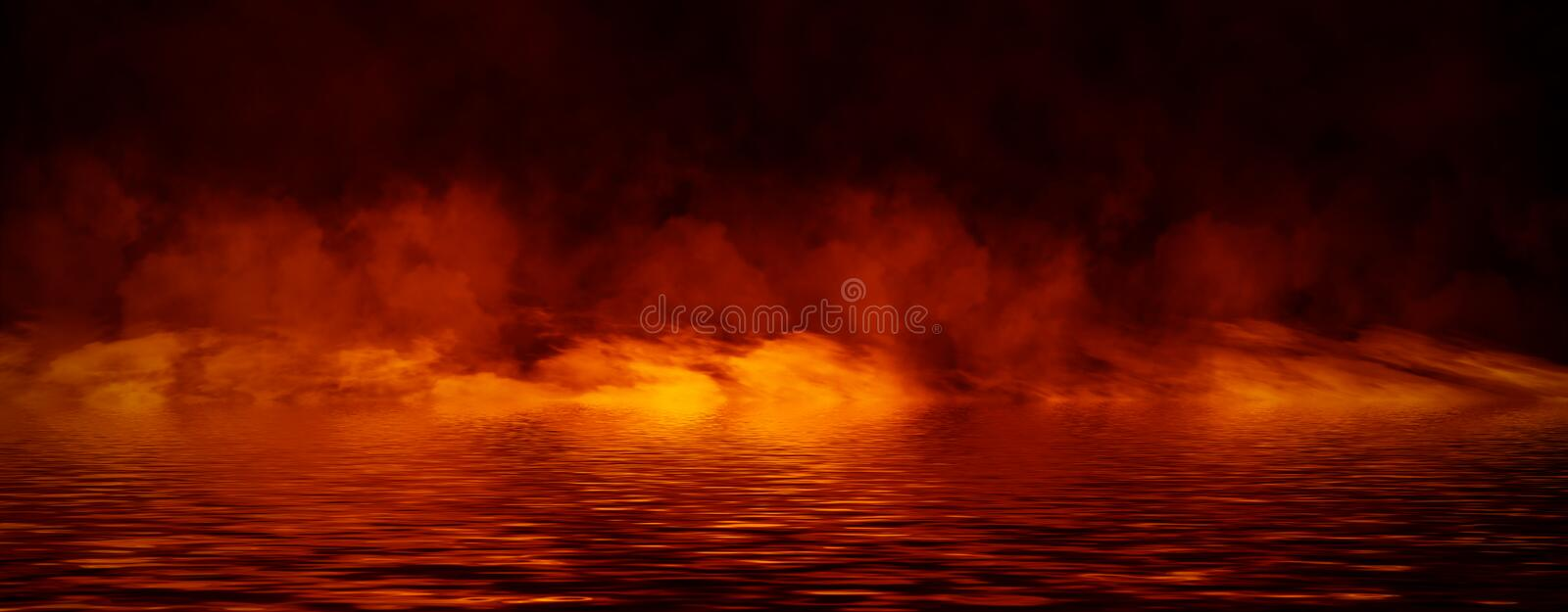 Panoramic view mystic smoke on the floor. Paranormal fog isolated on black background. Stock illustration. Reflection on water royalty free stock images