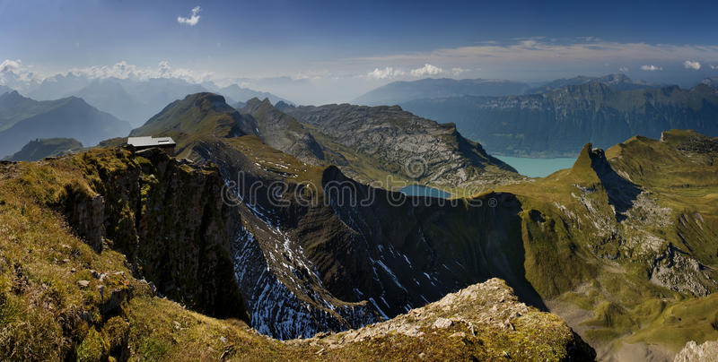 Panoramic View N The Beautiful Hills Of Swiss Alps Royalty Free Stock Photo