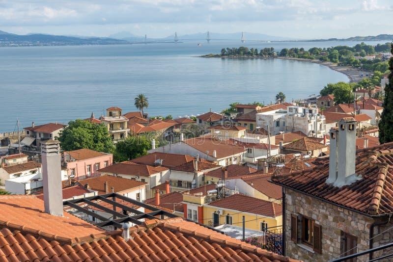 Panoramic view of Nafpaktos town and cable bridge between Rio and Antirrio, Greece. Panoramic view of Nafpaktos town and cable bridge between Rio and Antirrio royalty free stock image