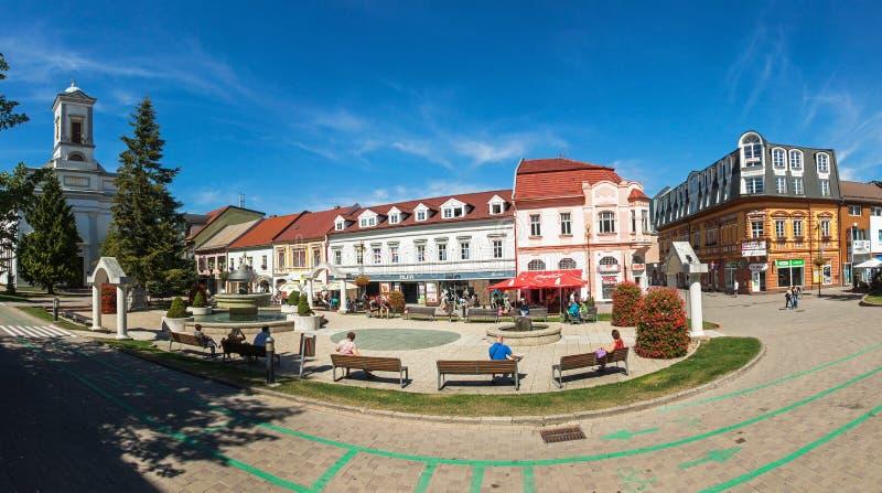 Panoramic view of Namestie svateho Egidia, Poprad old town, Slovakia royalty free stock images