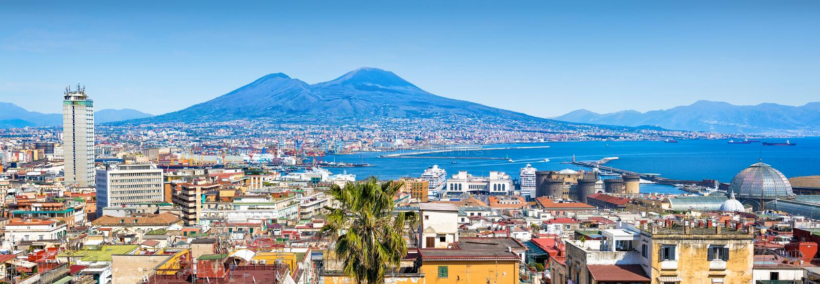 Panoramic view of Naples and Mount Vesuvius, Italy. Panoramic view of Naples, sea port in Gulf of Naples and Mount Vesuvius, Campania region, Italy stock photography