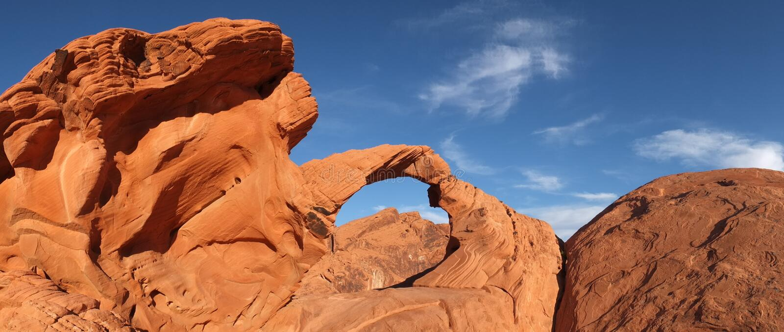 Panoramic View of Natural Arch stock photography