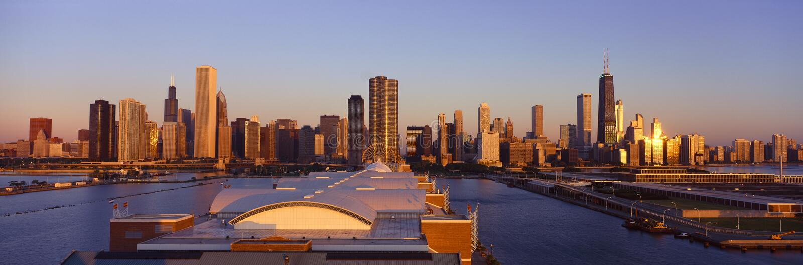 Panoramic view of Navy Pier and Chicago skyline at sunrise, Chicago, IL royalty free stock photos