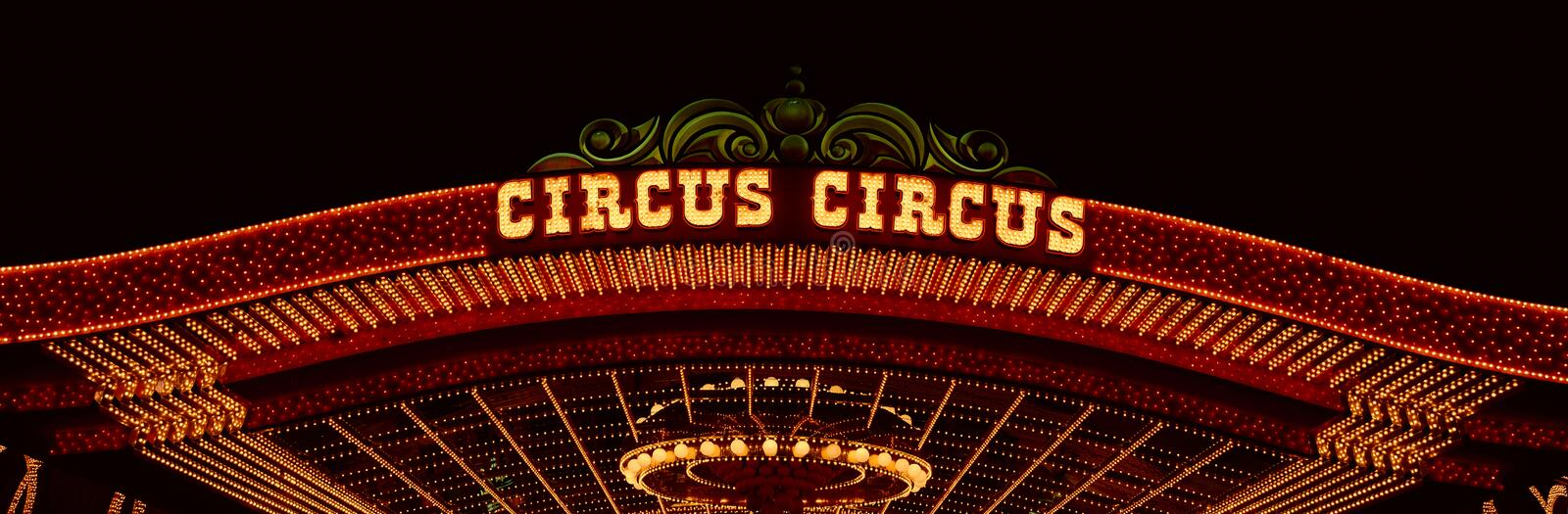 Panoramic view of neon lights of Circus Circus Casino, Las Vegas, NV royalty free stock photography