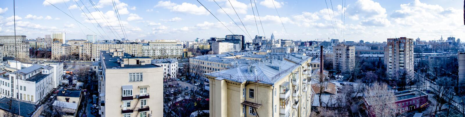 Panoramic view of new areas on the outskirts of Moscow with streets and houses royalty free stock image