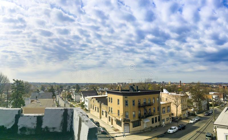 A panoramic view of the New Jersey neighborhood with the New York City stock image