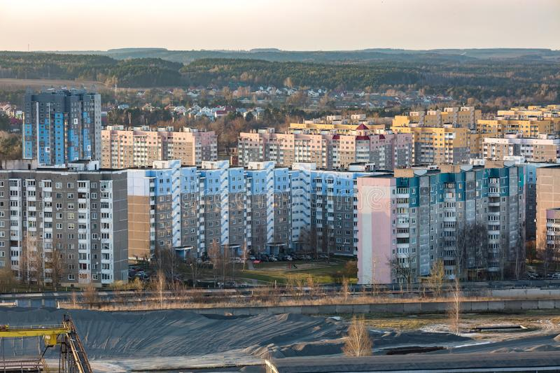 Panoramic view on new quarter high-rise building area urban development residential quarter in the evening from a bird`s eye view.  stock photo