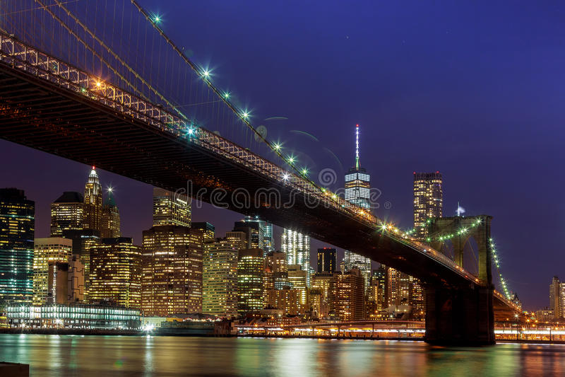 Panoramic view new york city manhattan downtown skyline at night royalty free stock photography