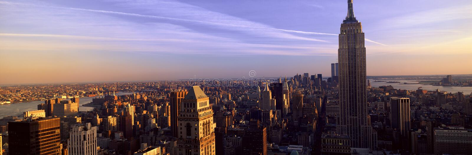 Panoramic view of New York City skyline with Empire State Building, Manhattan, NY stock photography
