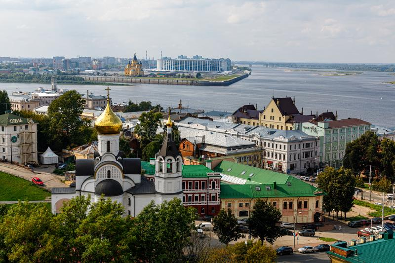 Panoramic view of Nizhny Novgorod. The confluence of the Oka and Volga rivers. The historical part of the city. Nizhny Novgorod, Russia. Panoramic view of royalty free stock photography