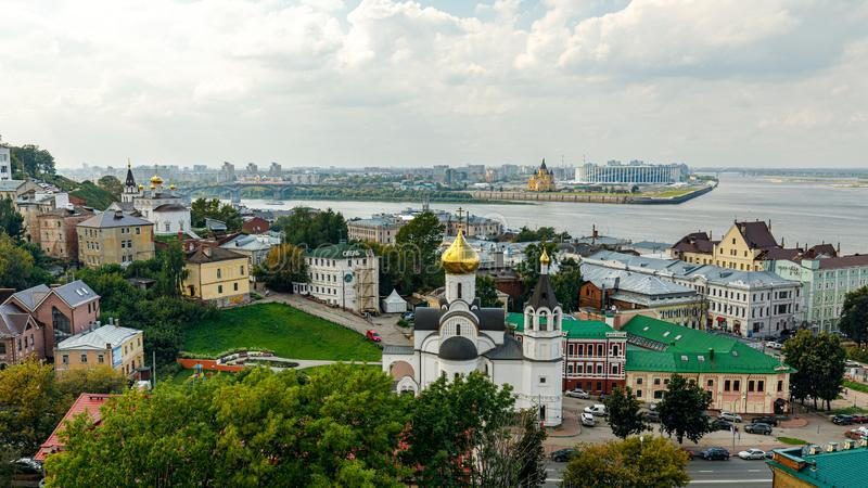 Panoramic view of Nizhny Novgorod. The confluence of the Oka and Volga rivers. The historical part of the city. Nizhny Novgorod, Russia. Panoramic view of royalty free stock photos