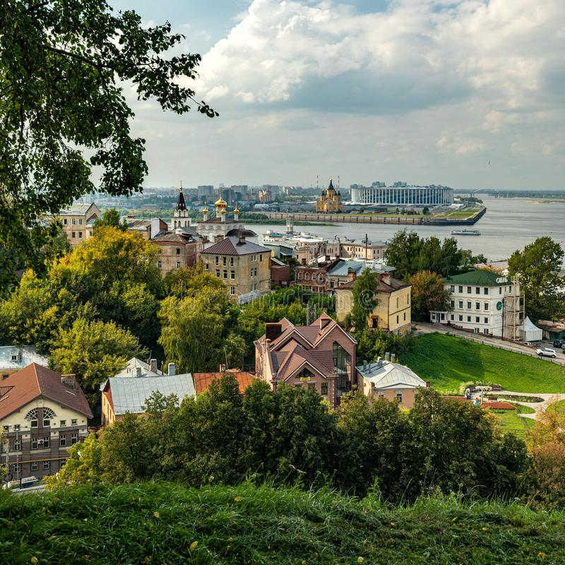 Panoramic view of Nizhny Novgorod. The confluence of the Oka and Volga rivers. The historical part of the city. Nizhny Novgorod, Russia. Panoramic view of stock image