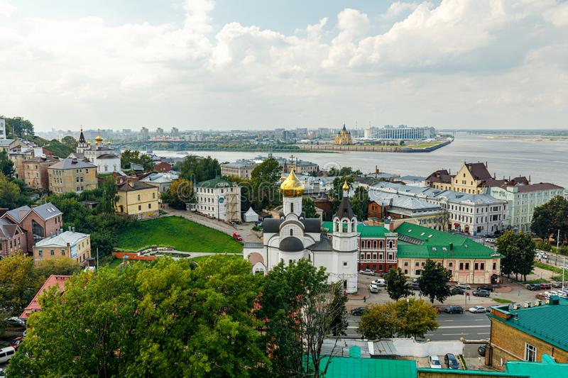 Panoramic view of Nizhny Novgorod. The confluence of the Oka and Volga rivers. The historical part of the city. Nizhny Novgorod, Russia. Panoramic view of royalty free stock image