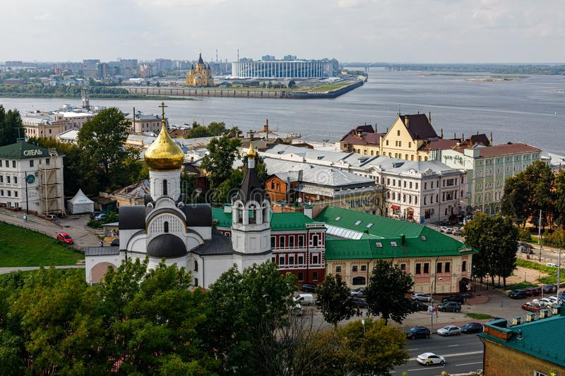 Panoramic view of Nizhny Novgorod. The confluence of the Oka and Volga rivers. The historical part of the city. Nizhny Novgorod, Russia. Panoramic view of stock photography