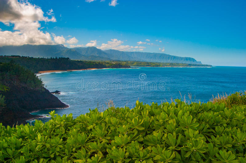 Panoramic view of the north shore of Kauai from Kilauea Point, H. Awaii with the Na Pali coast in the background stock photography