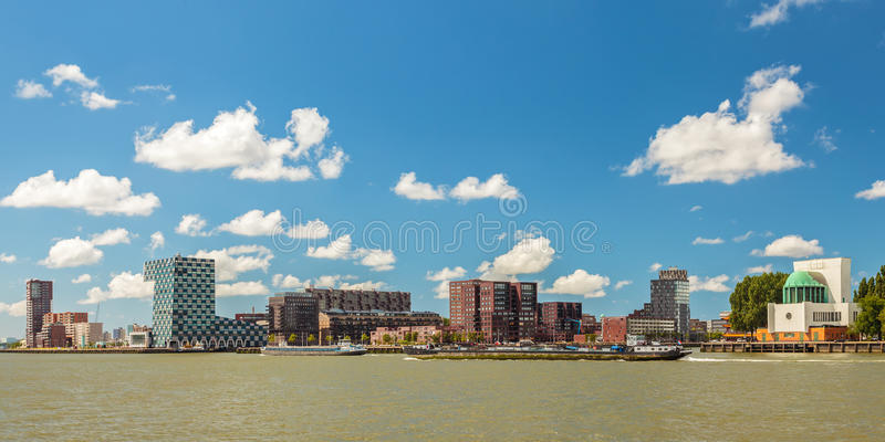 Panoramic view of the north side of Rotterdam. Panoramic view of the north side of the river Maas in Rotterdam, The Netherlands stock images
