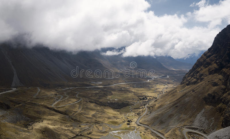 Panoramic view of North Yongas` landscape with low clouds stock images