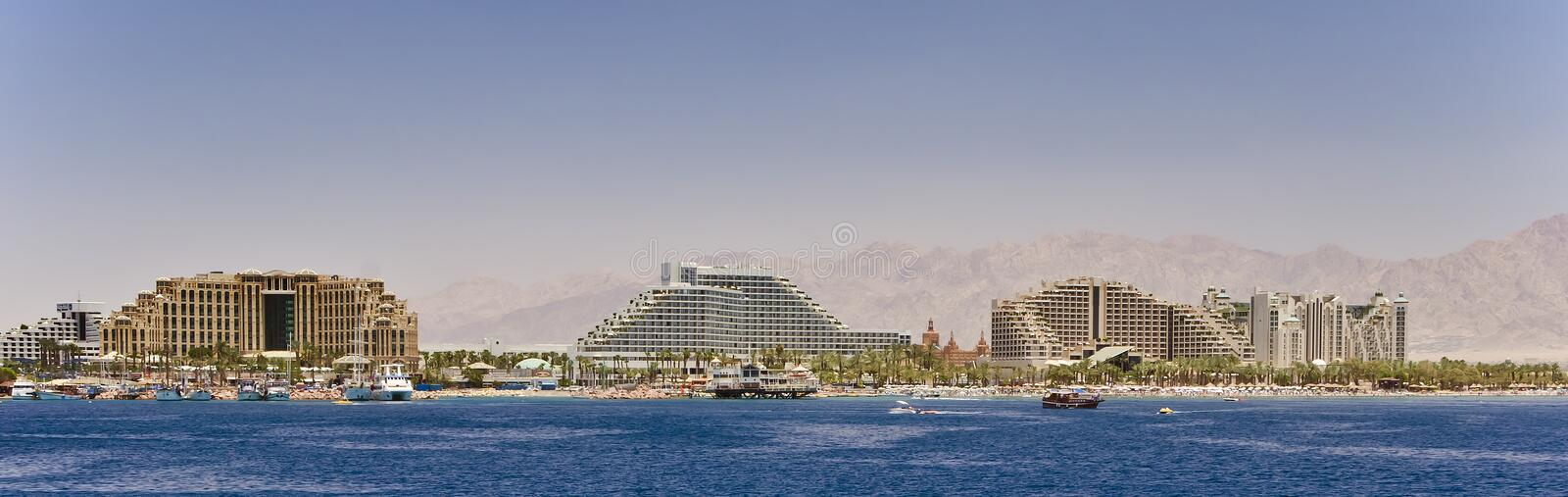 Panoramic view on northern beach of Eilat, Israel. The shot was taken from a pleasure boat near northern beach of Eilat - famous resort city of Israel stock photos