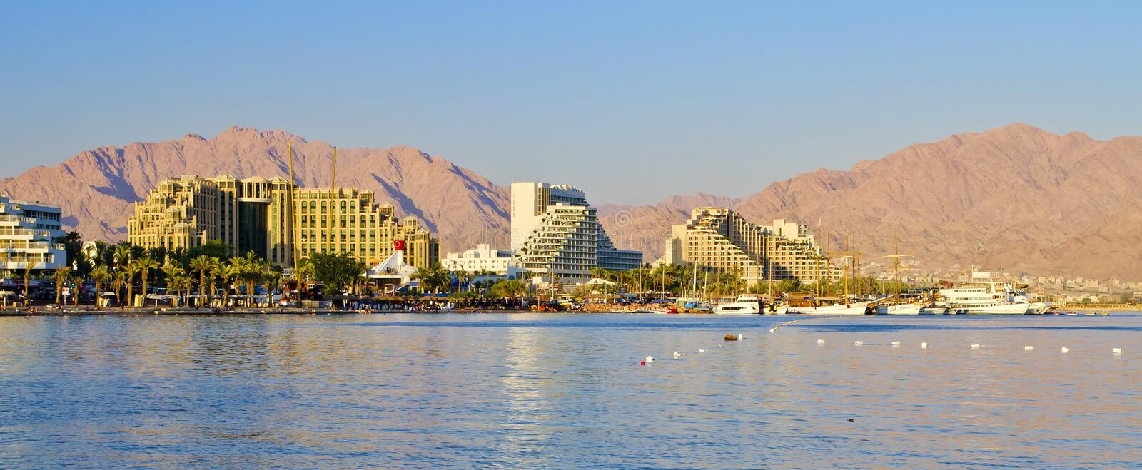 Panoramic view on northern beach of Eilat, Israel. Eilat is a famous resort and recreation town located on the Red Sea, Israel stock images