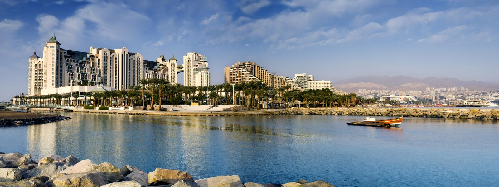 Panoramic view on northern beach of Eilat, Israel. Eilat is a popular recreation and resort city in Israel royalty free stock photo