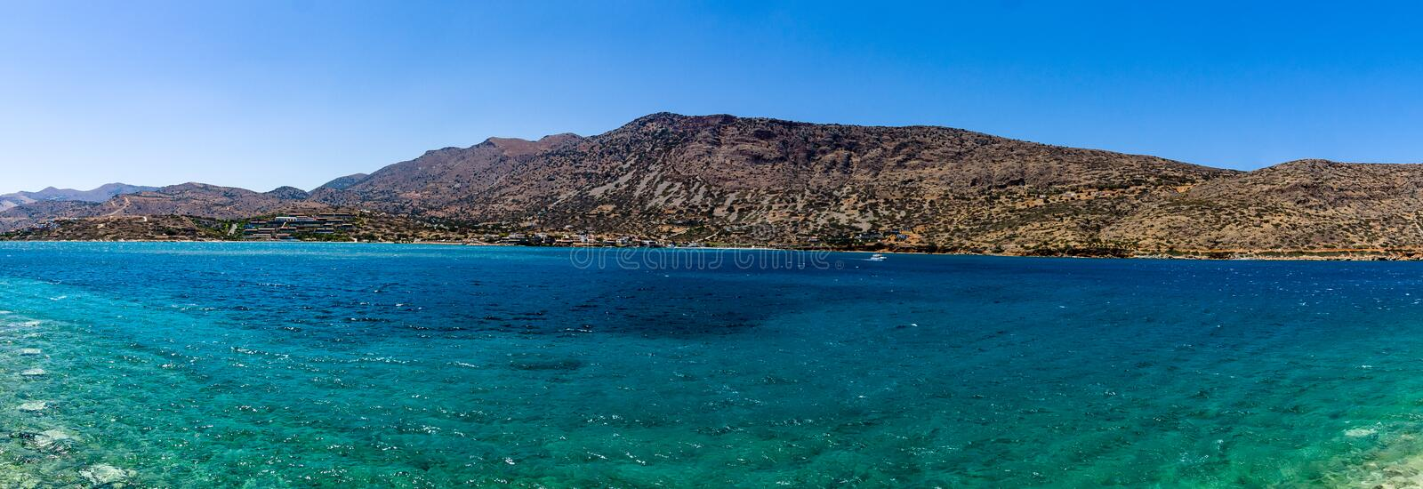 Panoramic view of the northern coast of the island of Crete (Greece). On the part of the Cretan Sea, the Gulf of Mirabello royalty free stock photography
