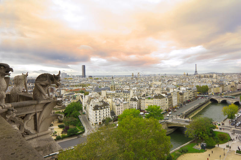Download Panoramic View From Notre Dame De Paris At Sunset Stock Photo - Image: 27748568