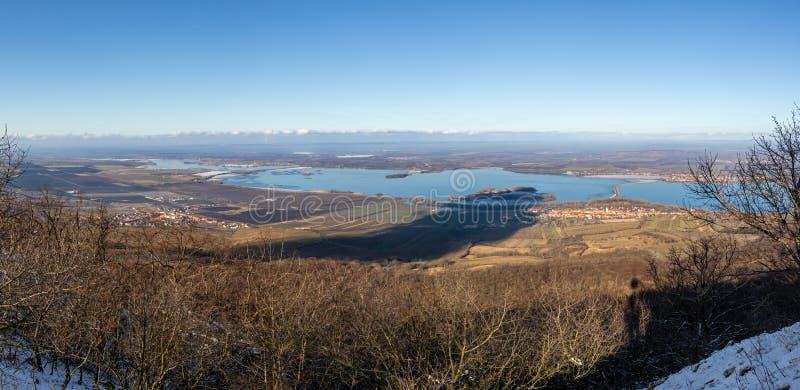 Panoramic view of Nove Mlyny dam, Czech Republic royalty free stock image