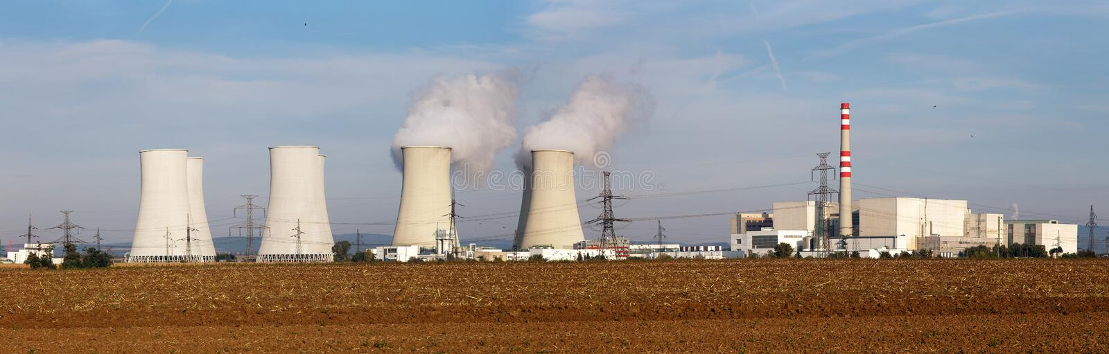 Panoramic view of Nuclear power plant royalty free stock photography