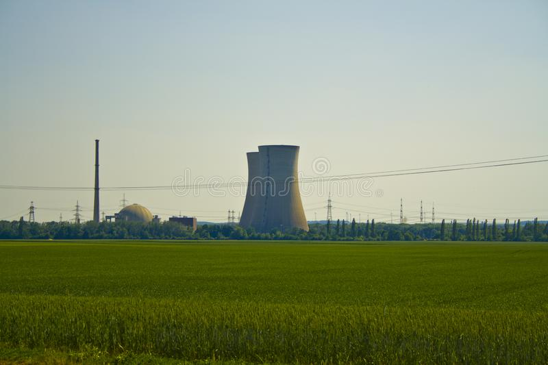 Panoramic view of the nuclear power plant Grafenrheinfeld in Bavaria, Germany stock photo