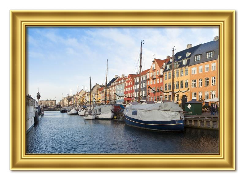 Panoramic view of the Nyhavn city, one of the most famous landmark in Copenhagen, during the Christmas holidays with christmas. Ornament Europe - Denmark stock photos