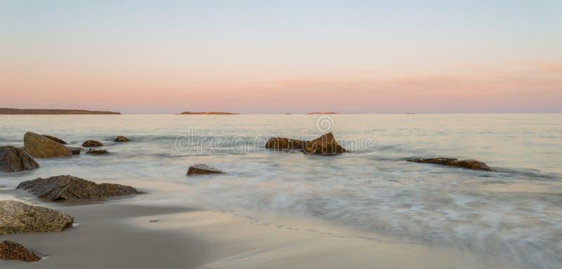Panoramic view of ocean beach. (Crystal Crescent Beach, Nova Scotia, Canada royalty free stock photo