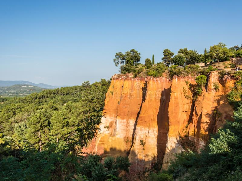 Panoramic view of the ocher lands in the natural park. Cote d`Azur French Riviera is situated in the southern eastern part of the mediterranean coast of France royalty free stock photo