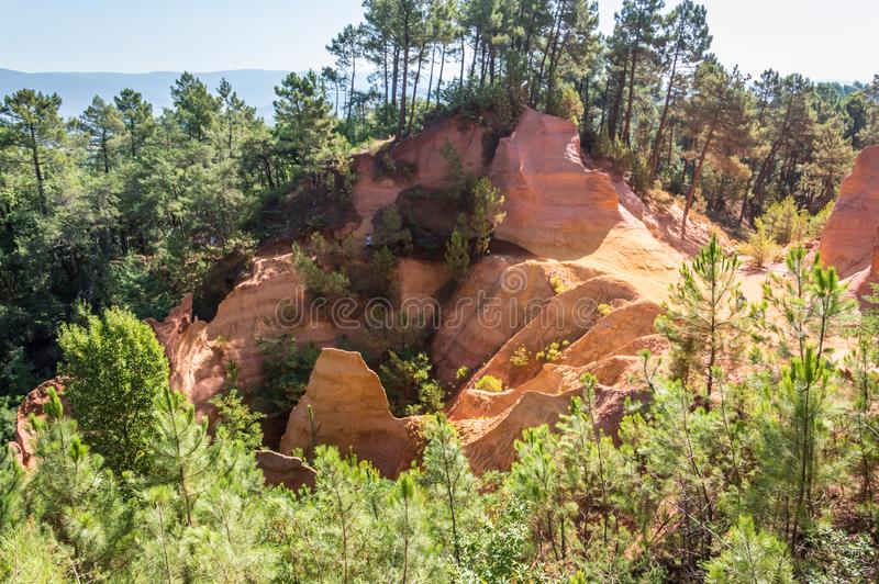 Panoramic view of the ocher lands in the natural park. Cote d`Azur French Riviera is situated in the southern eastern part of the mediterranean coast of France royalty free stock photos