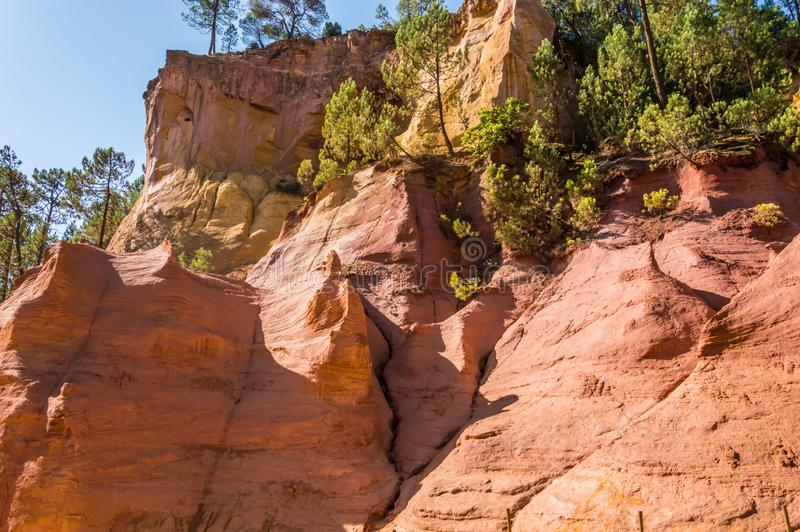 Panoramic view of the ocher lands in the natural park. Cote d`Azur French Riviera is situated in the southern eastern part of the mediterranean coast of France stock photos