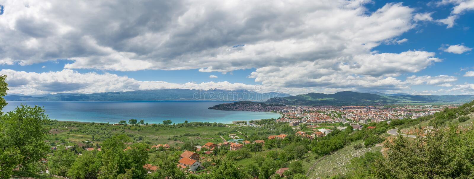 Panoramic view of Ohrid lake and Ohrid town stock photos