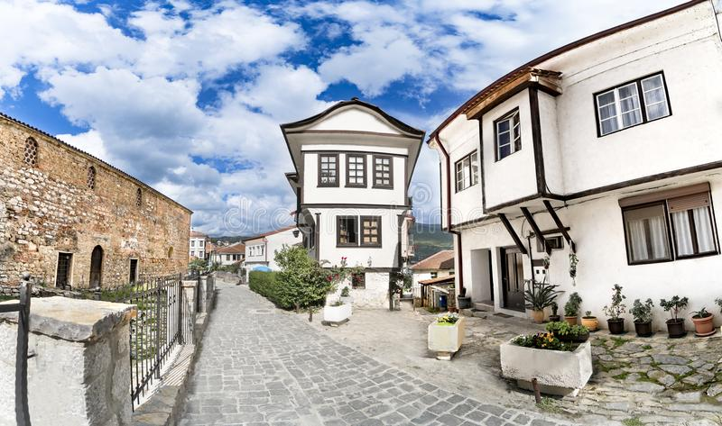Panoramic view of Ohrid old architecture and pavement alley royalty free stock photo