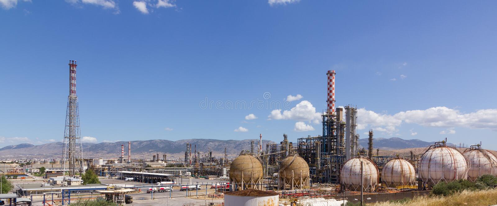 Panoramic view of an oil refinery. Panoramic view of a large oil refinery complex royalty free stock photography