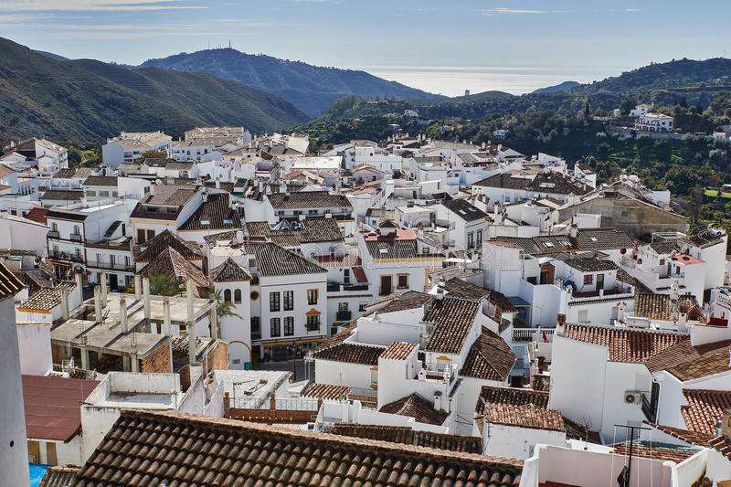 Panoramic view of Ojen, Malaga, Spain. Ojen is a town and municipality in the province of Málaga, part of the autonomous community of Andalusia in southern stock photo