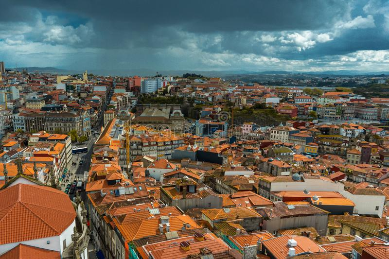 Panoramic view of the old city center of Porto or Oporto, Portugal stock photography