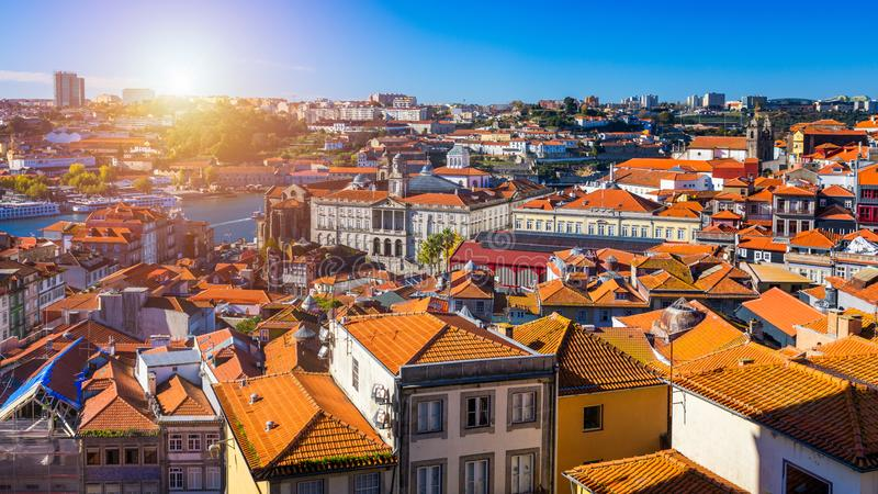 Panoramic view of Old city of Porto (Oporto) and Ribeira over Do royalty free stock photos
