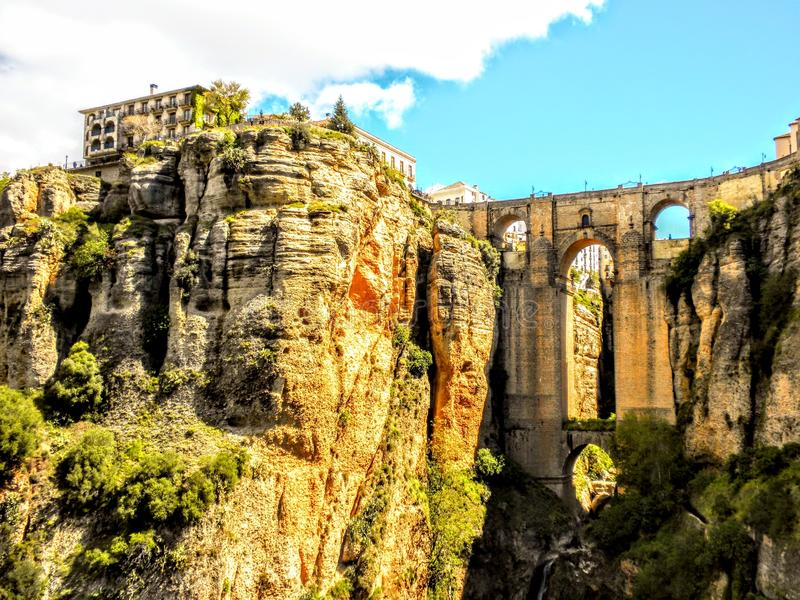 Panoramic view of the old city of Ronda Spain stock image