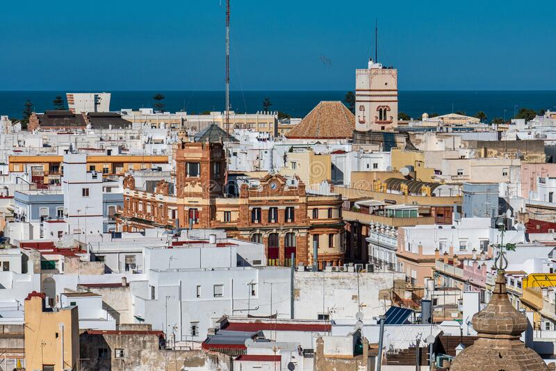 View of the old city rooftops from tower Tavira in Cadiz, Andalusia, Spain. Panoramic View of the old city rooftops from tower Tavira in Cadiz, Andalusia, Spain royalty free stock images