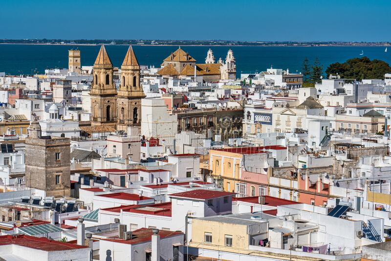 View of the old city rooftops from tower Tavira in Cadiz, Andalusia, Spain. Panoramic View of the old city rooftops from tower Tavira in Cadiz, Andalusia, Spain royalty free stock image